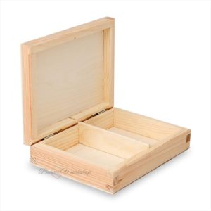 2 Compartment Plain Wooden Box