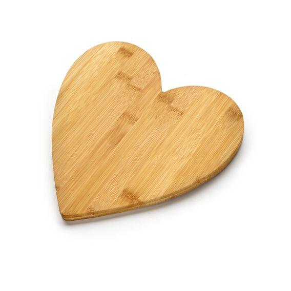 Engraved Heart Shaped Bamboo Board