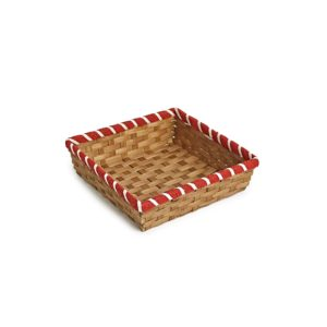 Square Bamboo Tray with Red Border