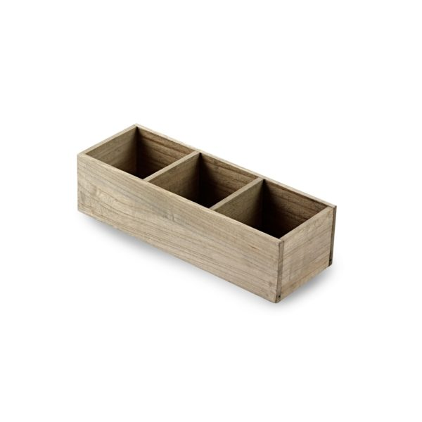 Three Compartment Wooden Tray, wooden organizer
