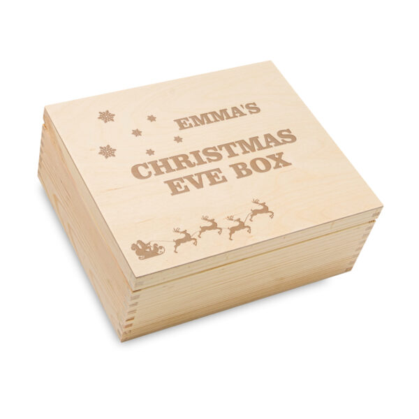 Engraved wooden Christmas wooden box, family box